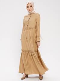 Beige - Button Collar - Unlined - Cotton - Dress