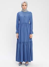 Indigo - Button Collar - Unlined - Cotton - Dress