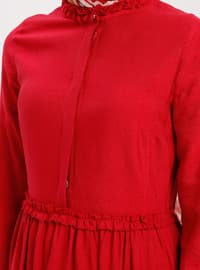 Red - Button Collar - Unlined - Cotton - Dress