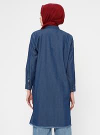 Blue - Polo neck - Denim - Tunic