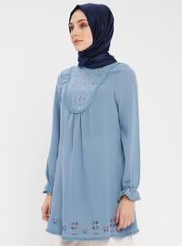 Blue - Polo neck - Cotton - Tunic