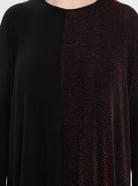 Black - Maroon - Crew neck - Plus Size Tunic
