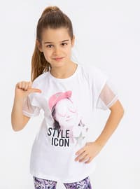 White - Crew neck - Girls` T-Shirt