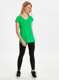Green - V neck Collar - T-Shirt