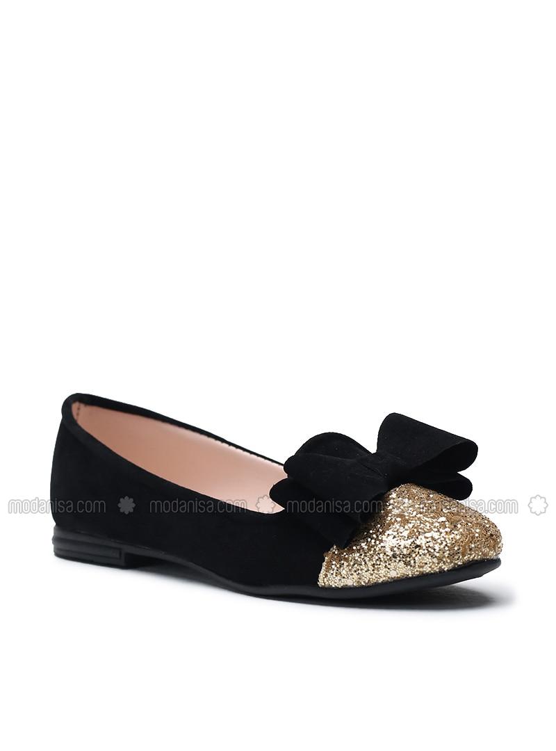 753208772d3 Black - Gold - Flat - Flat Shoes. Fotoğrafı büyütmek için tıklayın