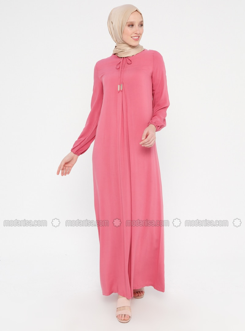 Pink - Crew neck - Unlined - Viscose - Dress