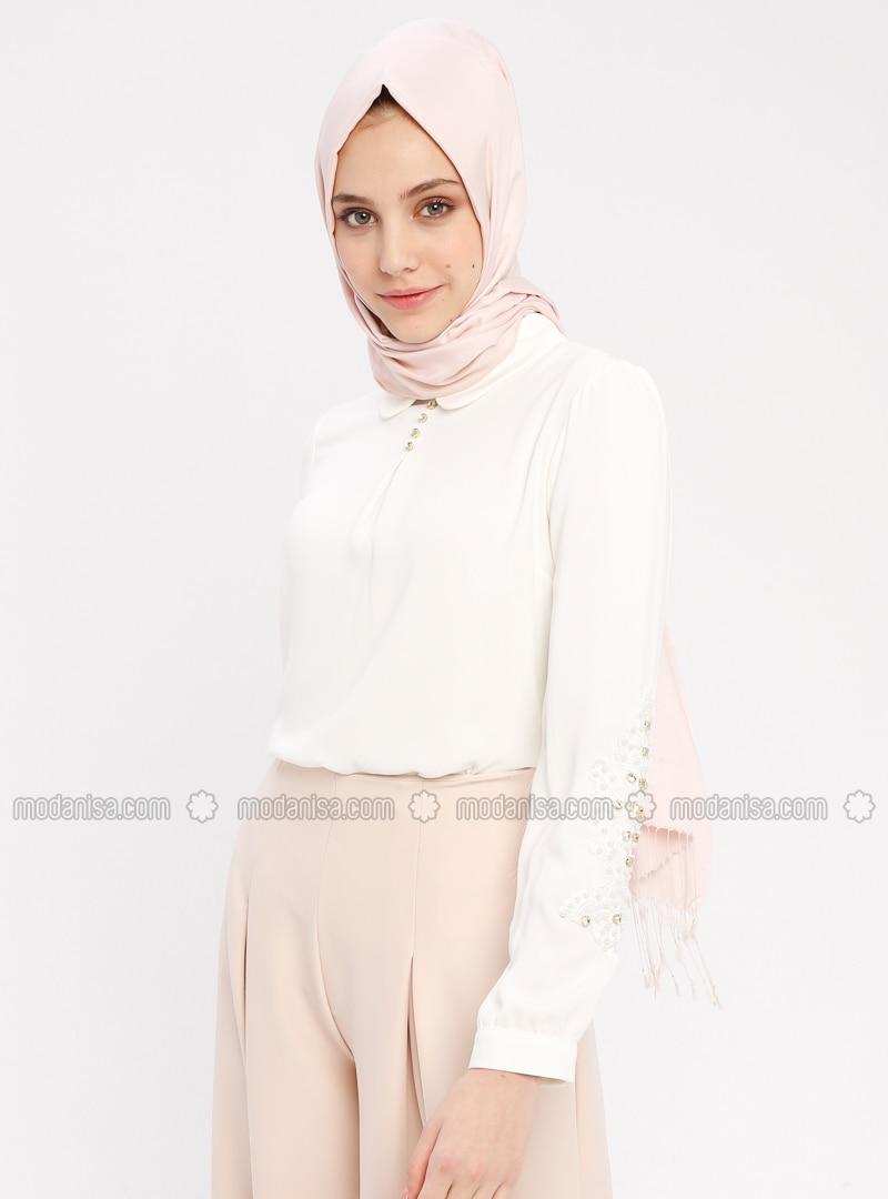 Ecru - Round Collar - Cotton - Blouses