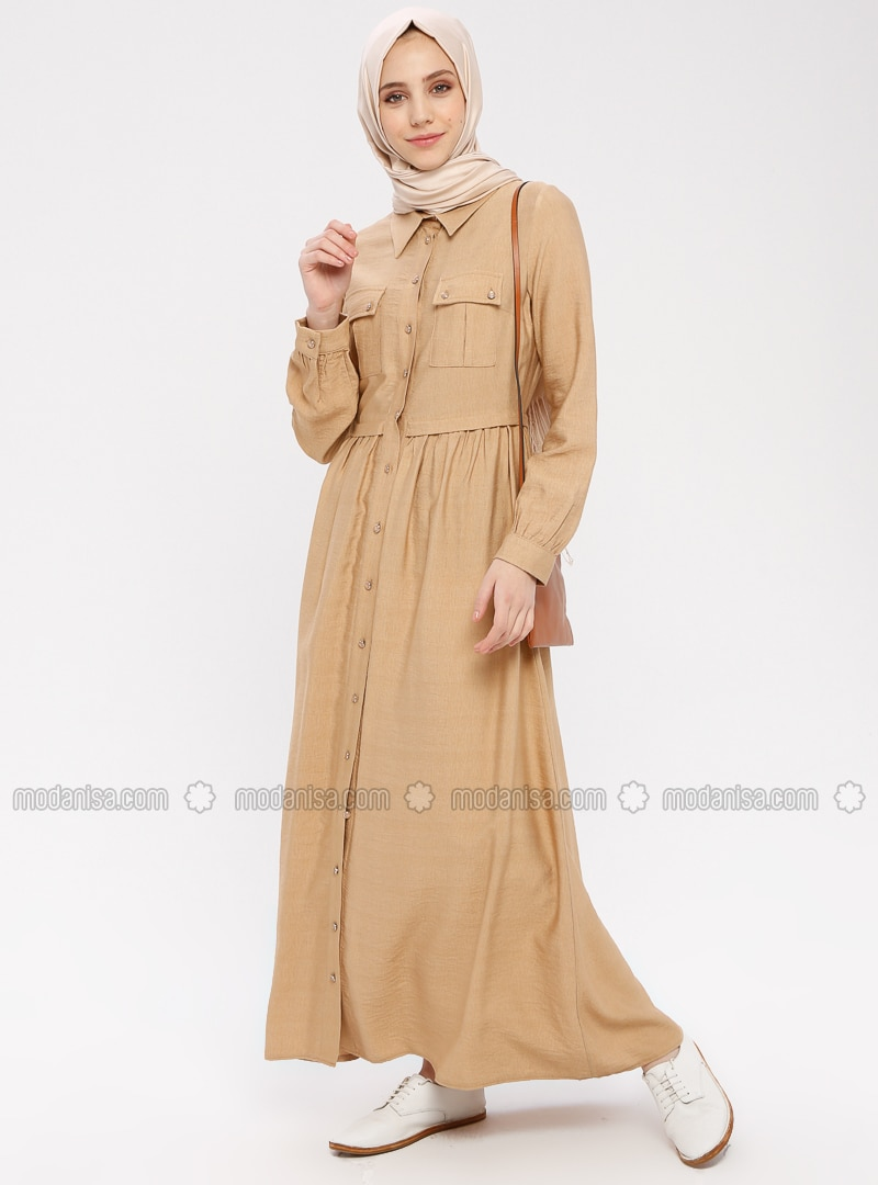 Beige - Point Collar - Unlined - Dress