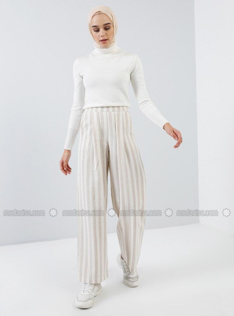 Beige - Stripe - Cotton - Pants