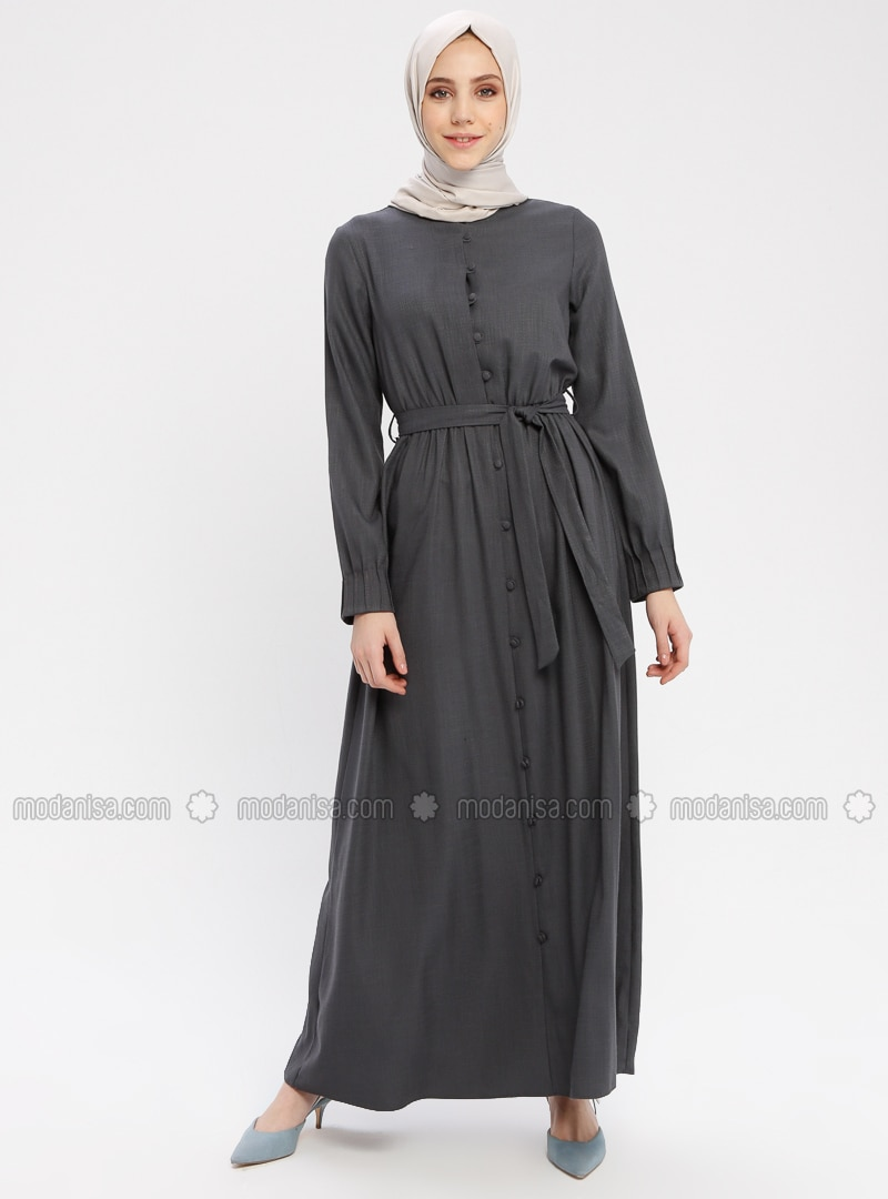 Gray - Button Collar - Unlined - Cotton - Dress