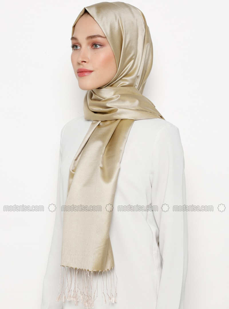Green - Plain - Fringe - %100 Silk - Shawl