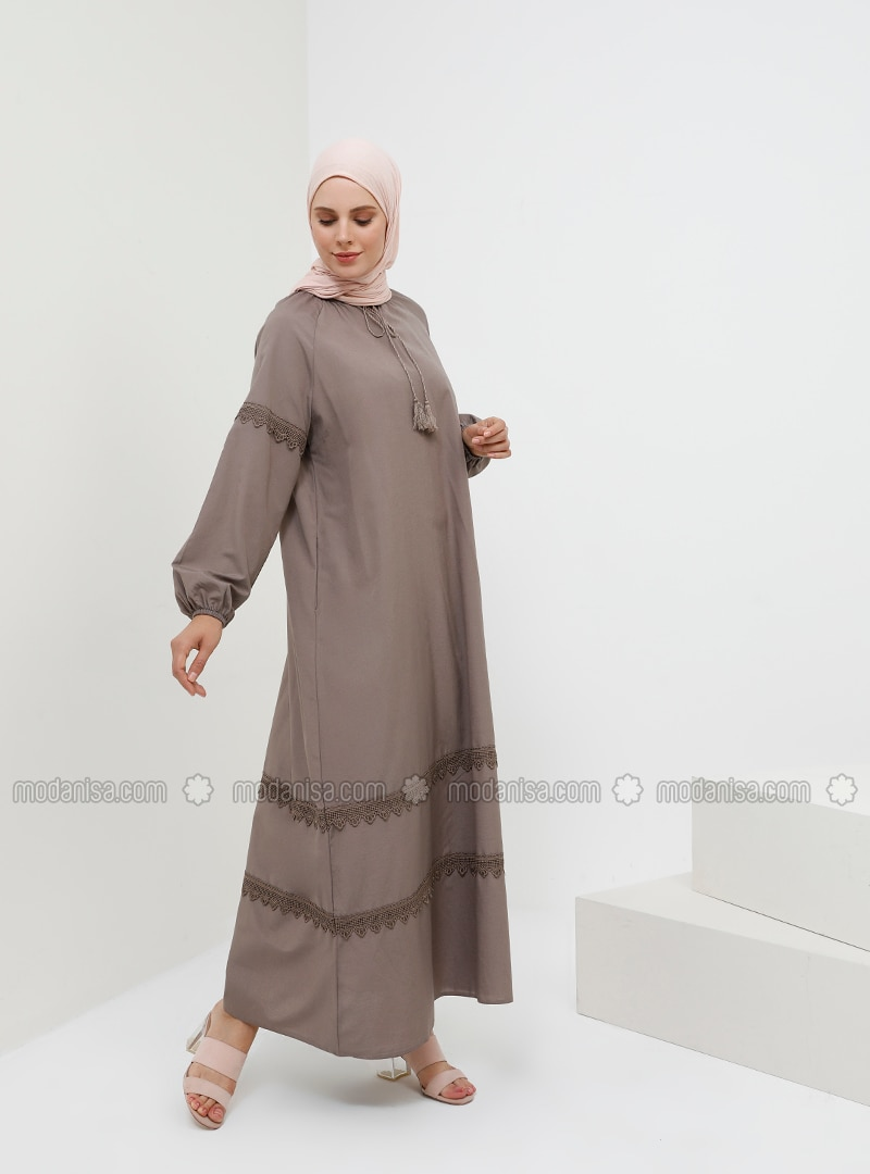 Brown - Crew neck - Unlined - Cotton - Dress