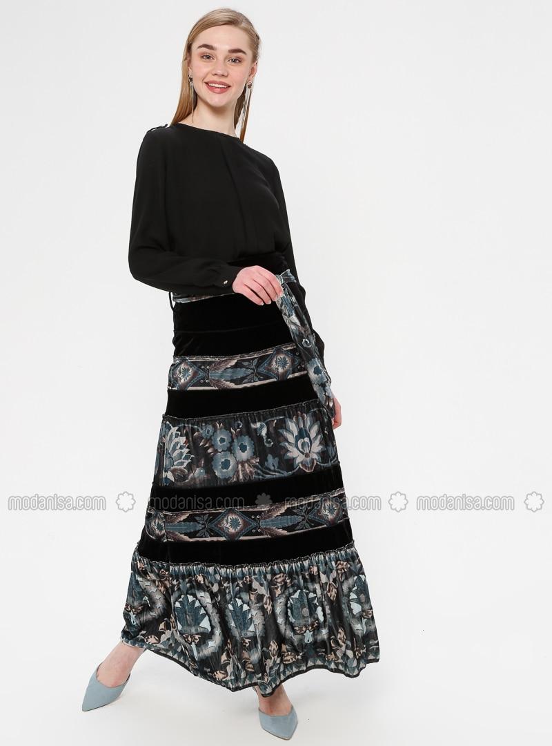 Green - Black - Multi - Fully Lined - Skirt