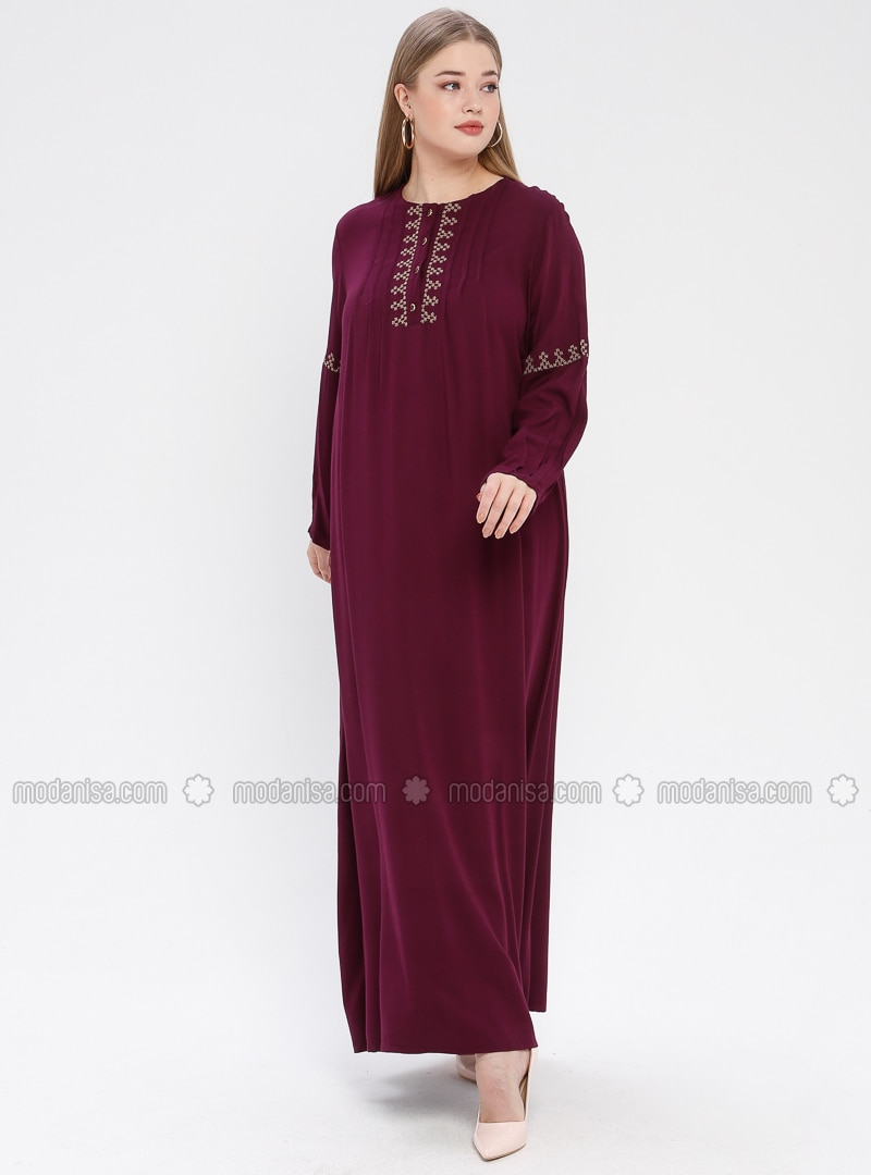 Plum - Unlined - Crew neck - Viscose - Plus Size Dress - Ginezza