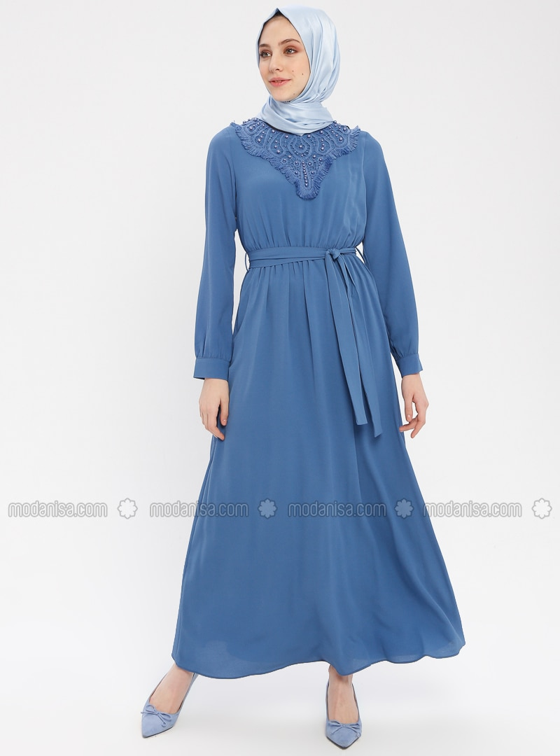 Blue - Crew neck - Fully Lined - Cotton - Dress