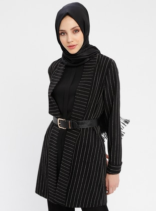 Black - Stripe - Unlined - Shawl Collar - Cotton - Jacket