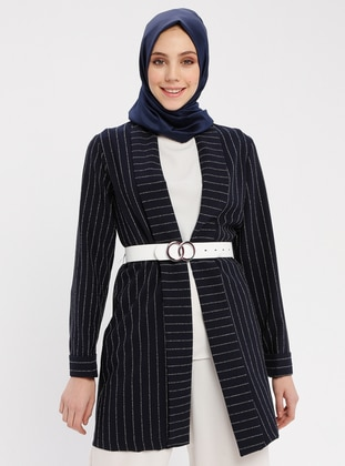 Navy Blue - Stripe - Unlined - Shawl Collar - Cotton - Jacket