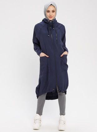 Navy Blue - Unlined - Polo neck - Cotton - Topcoat
