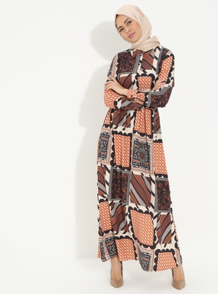 Orange - Multi - Point Collar - Unlined - Cotton - Dress