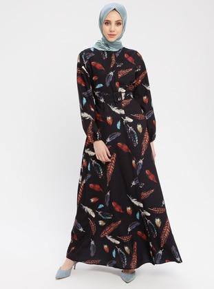 Black - Multi - Button Collar - Unlined - Cotton - Dress