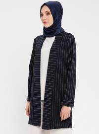 Navy Blue - Stripe - Unlined - Shawl Collar - Cotton - Jacket