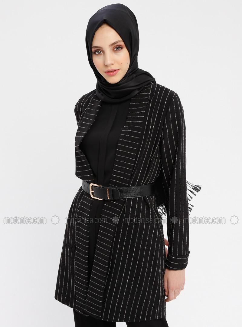 Black - Stripe - Unlined - Shawl Collar - Cotton - Jacket