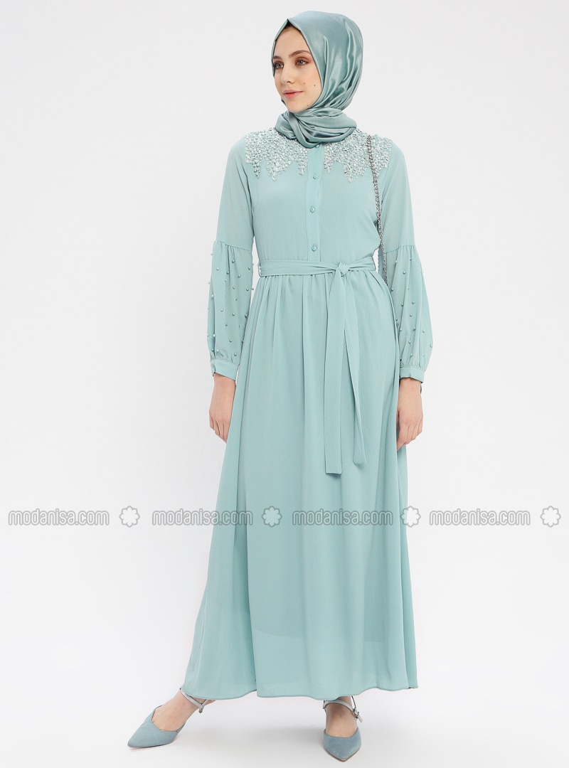 Green Almond - Crew neck - Fully Lined - Cotton - Dress