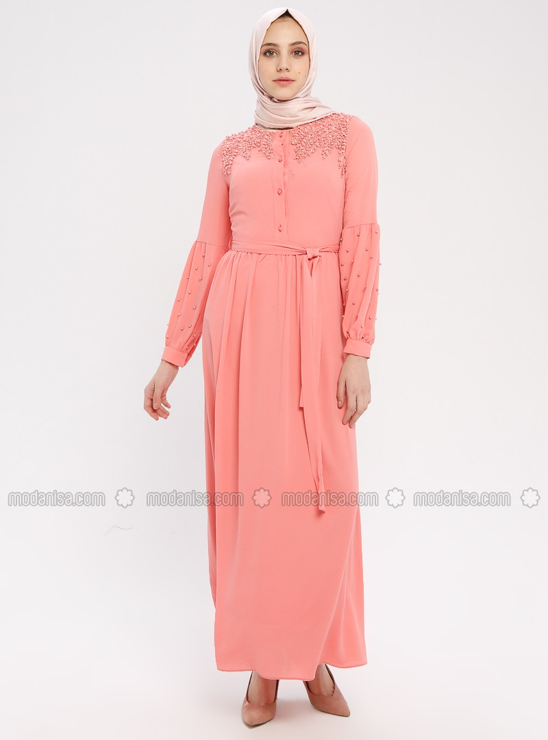 Coral - Crew neck - Fully Lined - Cotton - Dress