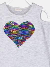 Gray - Crew neck - Girls` T-Shirt