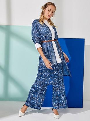 Blue - Navy Blue - Multi - Cardigan - Muni Muni