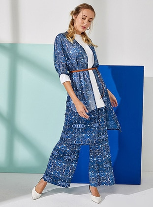 Blue - Navy Blue - Multi - Cardigan