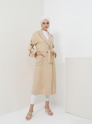 Beige - Unlined - Shawl Collar - Viscose - Topcoat