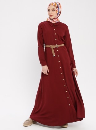 Maroon - Point Collar - Unlined - Cotton - Dress
