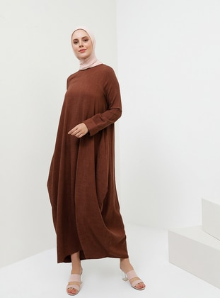 Brown - Crew neck - Unlined - Viscose - Dress