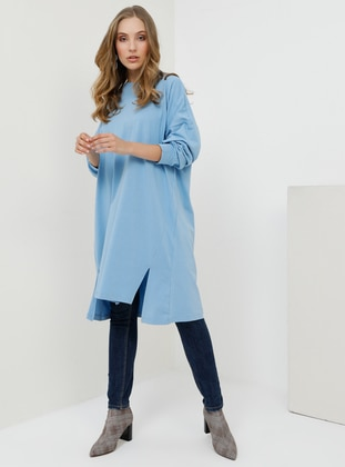 Indigo - Crew neck - Cotton - Tunic
