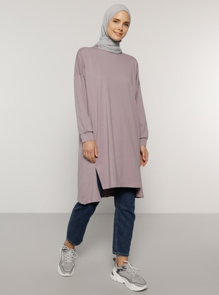Lilac - Crew neck - Cotton - Tunic