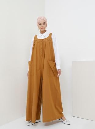 Camel - Unlined - Cotton - Dress