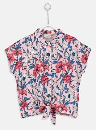 Pink - Printed - Girls` Shirt
