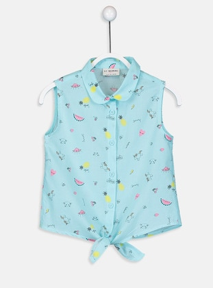 Green - Printed - Girls` Shirt