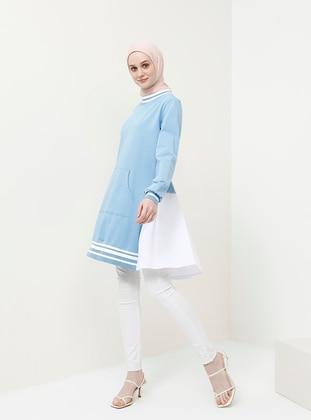 Blue - Indigo - Crew neck - Cotton - Tunic