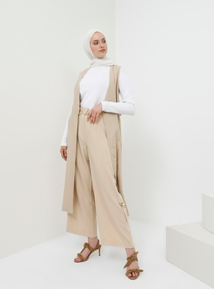 Beige - Viscose - Pants