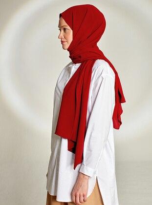 Red - Plain - Crepe - Shawl