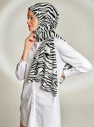Black - White - Printed - Crepe - Shawl