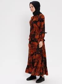 Black - Maroon - Multi - Crew neck - Unlined - Dress