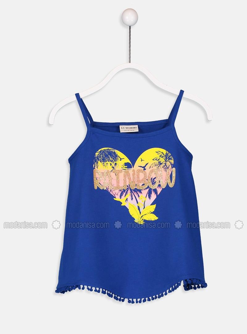 Blue - Crew neck - Girls` T-Shirt