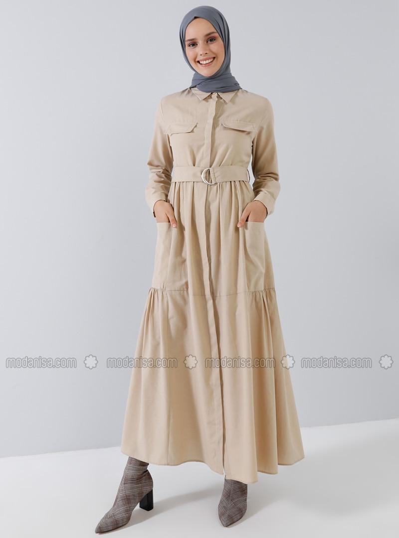 Beige - Point Collar - Unlined - Cotton - Dress