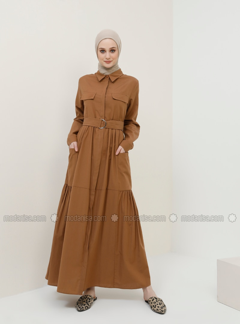 Brown - Point Collar - Unlined - Cotton - Dress