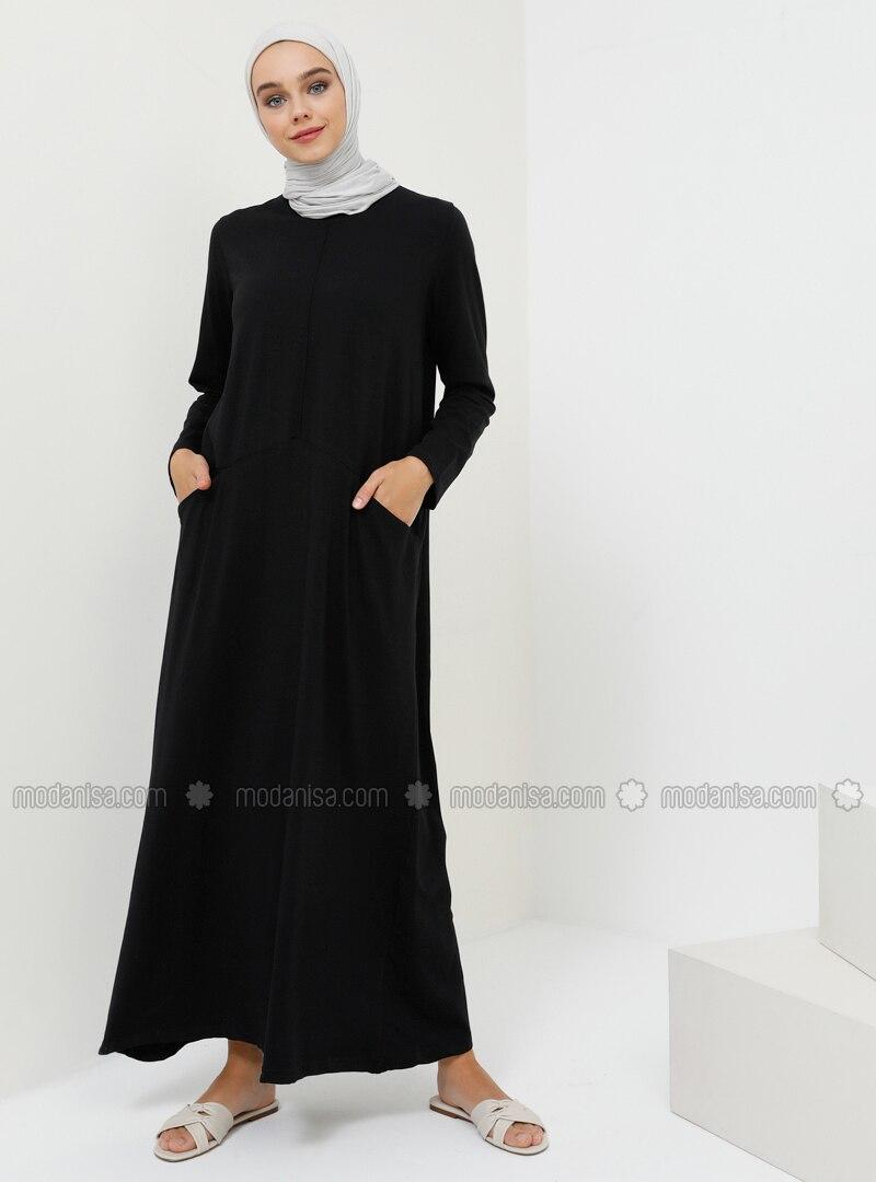 Black - Crew neck - Unlined - Cotton - Dress