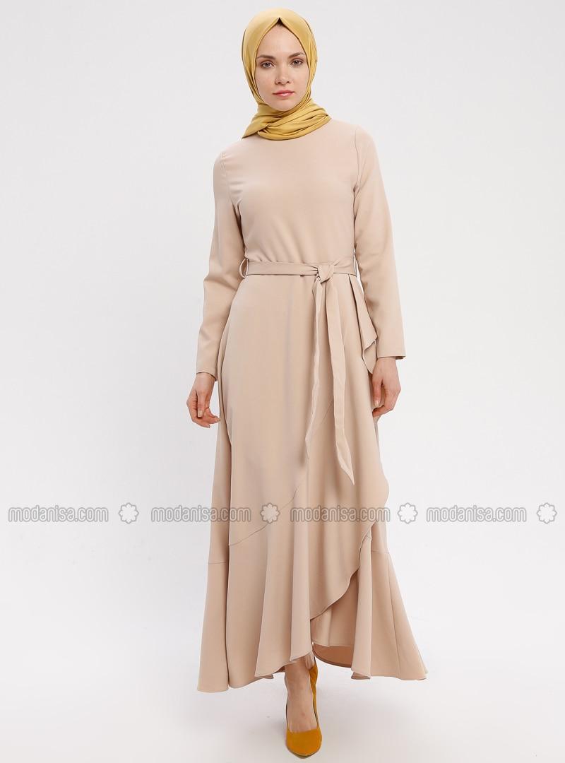 Beige - Rundhalsausschnitt - Ohne Innenfutter - Hijab Kleid