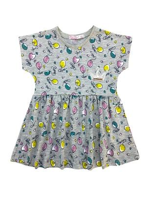 Multi - Crew neck - Cotton - Unlined - Gray - Baby Dress